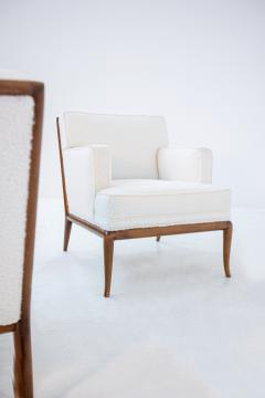 T H Robsjohn Gibbings Pair of Lounge Chairs by T H Robsjohn Gibbings in white boucl 1950s - 1884692