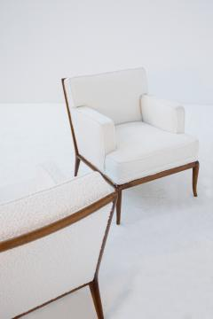 T H Robsjohn Gibbings Pair of Lounge Chairs by T H Robsjohn Gibbings in white boucl 1950s - 1884694