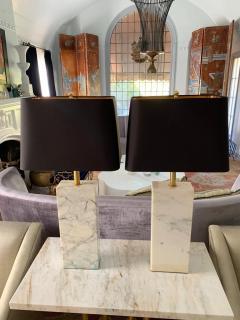 T H Robsjohn Gibbings Pair of T H Robsjohn Gibbings Marble and Brass Lamps with Shades - 1877450