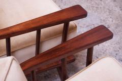 T H Robsjohn Gibbings Pair of T H Robsjohn Gibbings Stained Walnut Barrel Back Lounge Chairs - 1207946