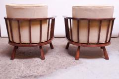 T H Robsjohn Gibbings Pair of T H Robsjohn Gibbings Stained Walnut Barrel Back Lounge Chairs - 1207947