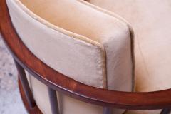 T H Robsjohn Gibbings Pair of T H Robsjohn Gibbings Stained Walnut Barrel Back Lounge Chairs - 1207948