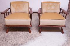 T H Robsjohn Gibbings Pair of T H Robsjohn Gibbings Stained Walnut Barrel Back Lounge Chairs - 1207954