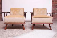 T H Robsjohn Gibbings Pair of T H Robsjohn Gibbings Stained Walnut Barrel Back Lounge Chairs - 1207956