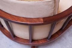 T H Robsjohn Gibbings Pair of T H Robsjohn Gibbings Stained Walnut Barrel Back Lounge Chairs - 1207958