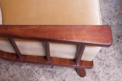 T H Robsjohn Gibbings Pair of T H Robsjohn Gibbings Stained Walnut Barrel Back Lounge Chairs - 1207959