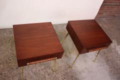T H Robsjohn Gibbings Pair of T H Robsjohn Gibbings Walnut and Brass Nightstands - 537167