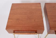 T H Robsjohn Gibbings Pair of T H Robsjohn Gibbings for Widdicomb Walnut and Brass Nightstands - 1572106