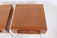 T H Robsjohn Gibbings Pair of T H Robsjohn Gibbings for Widdicomb Walnut and Brass Nightstands - 1572108