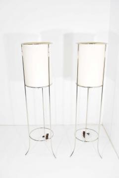T H Robsjohn Gibbings Pair of Tripod Nickel Floor Lamps by T H Robsjohn Gibbings for Hansen - 1124862