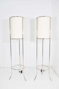 T H Robsjohn Gibbings Pair of Tripod Nickel Floor Lamps by T H Robsjohn Gibbings for Hansen - 1124863
