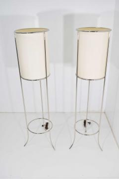 T H Robsjohn Gibbings Pair of Tripod Nickel Floor Lamps by T H Robsjohn Gibbings for Hansen - 1124866
