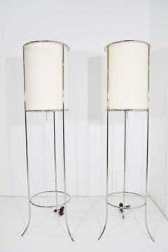 T H Robsjohn Gibbings Pair of Tripod Nickel Floor Lamps by T H Robsjohn Gibbings for Hansen - 1124867