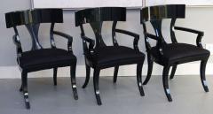 T H Robsjohn Gibbings Set of Six Black Lacquer Klismos Armchairs Manner of Robsjohn Gibbings - 348556
