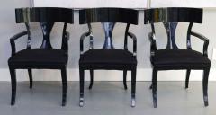 T H Robsjohn Gibbings Set of Six Black Lacquer Klismos Armchairs Manner of Robsjohn Gibbings - 348558