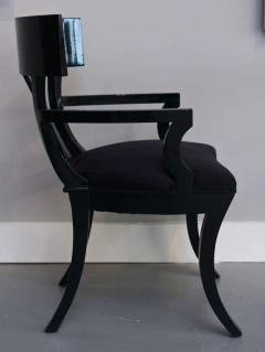 T H Robsjohn Gibbings Set of Six Black Lacquer Klismos Armchairs Manner of Robsjohn Gibbings - 348560