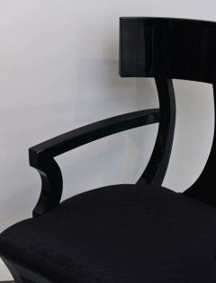 T H Robsjohn Gibbings Set of Six Black Lacquer Klismos Armchairs Manner of Robsjohn Gibbings - 348561