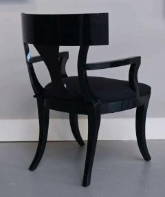 T H Robsjohn Gibbings Set of Six Black Lacquer Klismos Armchairs Manner of Robsjohn Gibbings - 348563