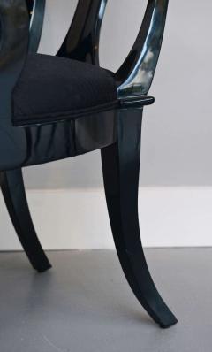 T H Robsjohn Gibbings Set of Six Black Lacquer Klismos Armchairs Manner of Robsjohn Gibbings - 348566