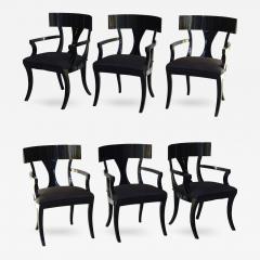 T H Robsjohn Gibbings Set of Six Black Lacquer Klismos Armchairs Manner of Robsjohn Gibbings - 349316