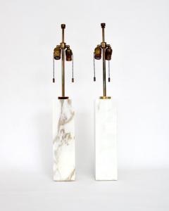 T H Robsjohn Gibbings T H ROBSJOHN GIBBINGS CALCUTTA GOLD MARBLE PAIR OF TABLE LAMPS - 2094233