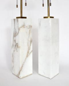 T H Robsjohn Gibbings T H ROBSJOHN GIBBINGS CALCUTTA GOLD MARBLE PAIR OF TABLE LAMPS - 2094244