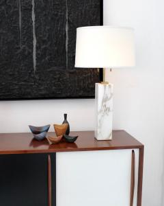T H Robsjohn Gibbings T H ROBSJOHN GIBBINGS CALCUTTA GOLD MARBLE PAIR OF TABLE LAMPS - 2094245
