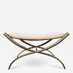 T H Robsjohn Gibbings T H Robsjohn Gibbings Custom Brass Curule Bench for the Kandell Residence - 1234712