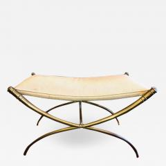 T H Robsjohn Gibbings T H Robsjohn Gibbings Custom Brass Curule Bench for the Kandell Residence - 1235449