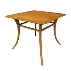 T H Robsjohn Gibbings T H Robsjohn Gibbings End Table In Walnut with Klismos Legs 1956 Signed  - 1180022
