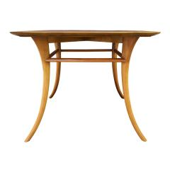 T H Robsjohn Gibbings T H Robsjohn Gibbings End Table In Walnut with Klismos Legs 1956 Signed  - 1180029