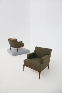 T H Robsjohn Gibbings T H Robsjohn Gibbings pair of midcentury armchairs in boucl fabric brown 1950 - 1535063