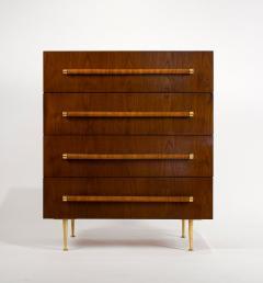 T H Robsjohn Gibbings TH Robsjohn Gibbings Chest of Drawers in Walnut with Cane Handles - 1816785