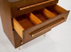 T H Robsjohn Gibbings TH Robsjohn Gibbings Chest of Drawers in Walnut with Cane Handles - 1816788