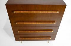 T H Robsjohn Gibbings TH Robsjohn Gibbings Chest of Drawers in Walnut with Cane Handles - 1816789