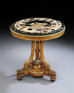 T Seddon English Antique Regency Period Centre Circular Table With Grand Tour Marble Top - 1145557