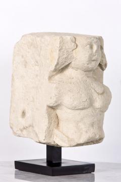 T te de Moine in limestone XVI Bourges on a superb metal base - 2111692