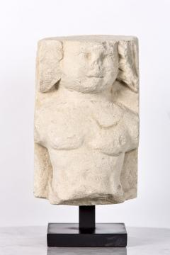 T te de Moine in limestone XVI Bourges on a superb metal base - 2111693