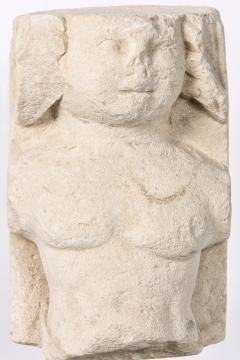 T te de Moine in limestone XVI Bourges on a superb metal base - 2111694