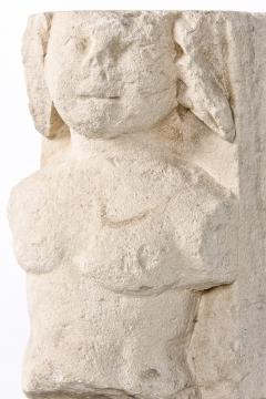 T te de Moine in limestone XVI Bourges on a superb metal base - 2111695