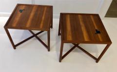 TH Robsjohn Gibbings Pair of Dunbar Janus End Tables with Tiffany Tiles - 908060