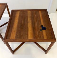 TH Robsjohn Gibbings Pair of Dunbar Janus End Tables with Tiffany Tiles - 908062