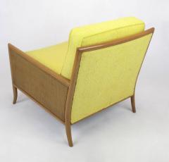 TH Robsjohn Gibbings Pair of Walnut Yellow Haitian Cotton Lounge Chairs after TH Robsjohn Gibbings - 271162