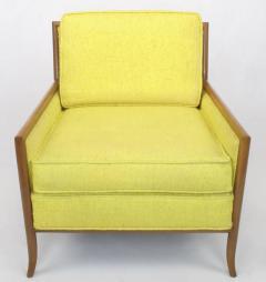 TH Robsjohn Gibbings Pair of Walnut Yellow Haitian Cotton Lounge Chairs after TH Robsjohn Gibbings - 271163
