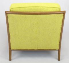 TH Robsjohn Gibbings Pair of Walnut Yellow Haitian Cotton Lounge Chairs after TH Robsjohn Gibbings - 271164