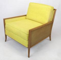 TH Robsjohn Gibbings Pair of Walnut Yellow Haitian Cotton Lounge Chairs after TH Robsjohn Gibbings - 271165