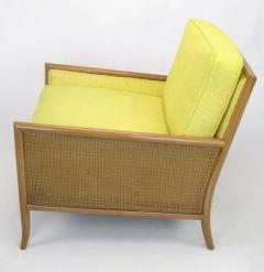 TH Robsjohn Gibbings Pair of Walnut Yellow Haitian Cotton Lounge Chairs after TH Robsjohn Gibbings - 271166