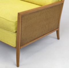TH Robsjohn Gibbings Pair of Walnut Yellow Haitian Cotton Lounge Chairs after TH Robsjohn Gibbings - 271167