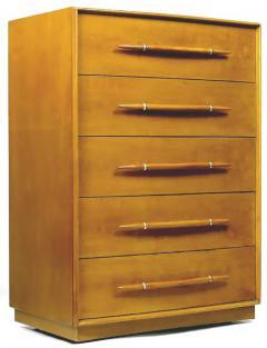 TH Robsjohn Gibbings T H Robsjohn Gibbings Tall Walnut Dresser for Widdicomb - 717396
