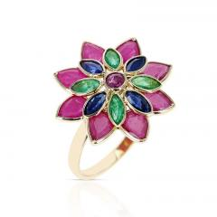TRI COLOR RUBY EMERALD SAPPHIRE FLORAL RING 18K YELLOW GOLD - 2133774